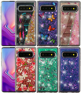 Samsung-Galaxy-S10-S10-Plus-Hard-Rubber-Floating-Liquid-Waterfall-Glitter-Case