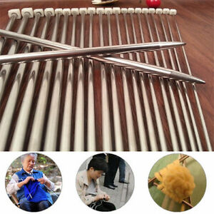 11-Sizes-14-034-36cm-Stainless-Steel-Single-Pointed-Knit-Knitting-Needles-Tool-22Pcs