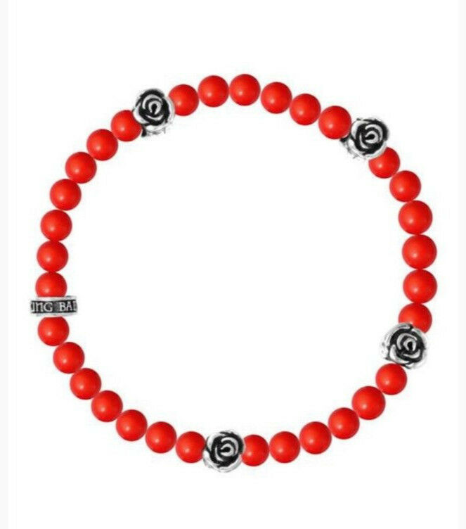 King Baby Studio 6mm Res Coral Bead Bracelet W 4 pinks Size  Fits 8 To 9 Inch