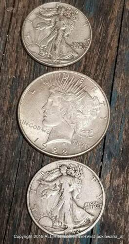 Franklin or Kennedy Half 3 Silver Coins Type Set ~ Peace Dollar /& Liberty U.S