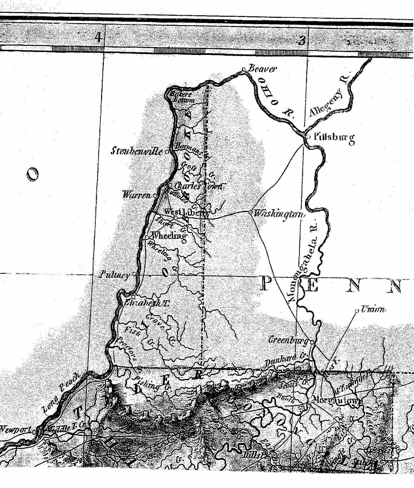 1823 VA MAP Potomac River Bluemont Millwood Winchester Stephens City Monticello