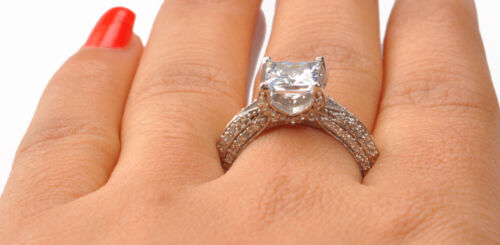 Superb Princess Shape 3.70 Carat Real 14KT White Gold Solitaire Anniversary Ring