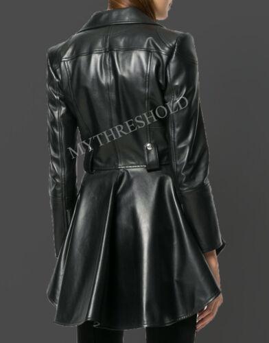Women's Biker Jacket Waist Designer Lambskin Leather Peplum Genuine Black r4zWA8qr6