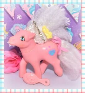 My-Little-Pony-MLP-G1-Vtg-SWEET-LILY-Pink-Perfume-Puff-Pony-BARRETTE-Ribbon