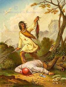 PAINTING-DRAW-NATIVE-AMERICAN-INDIAN-SCALP-VIOLENCE-TROPHY-BLOOD-PRINT-CC1128