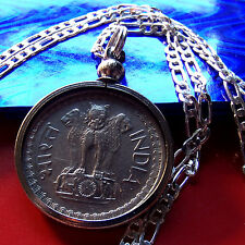 """<<> 1975 INDIA Lion Coin 50 Paise PENDANT on a 30"""" 925 Sterling Silver Chain <>>"""