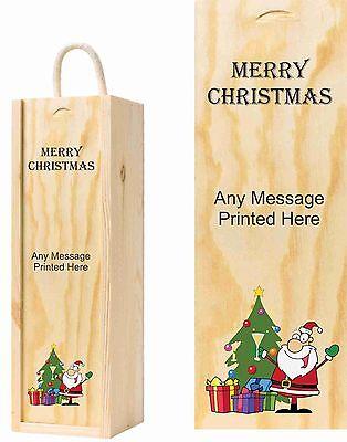 Merry Christmas Personalizzato Con Qualsiasi Messaggio Il Vino In Legno Scatola Con Babbo Natale-