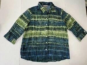 Tanjay-Womens-Size-12-Green-amp-Blue-Sheer-Polka-Dot-Button-Down-Blouse-3-4-Sleeve