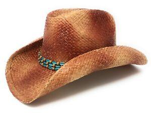 Summit Hats Burnt Orange Cattleman Cowboy Raffia Straw Hat in Sz: S/M