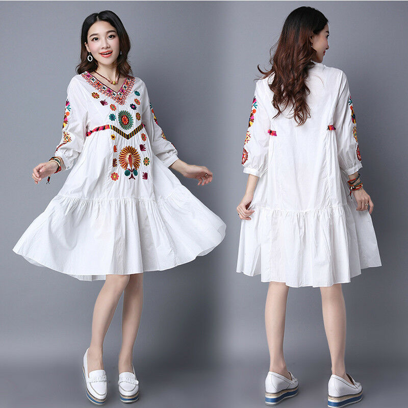 Embroidered Women Vintage Ethnic Mexican Spliced Long Boho Loose Dress A Line