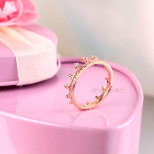14K Rose Gold Wedding Band Princess Crown Ring 0.04 Ct Diamond Fine Jewelry
