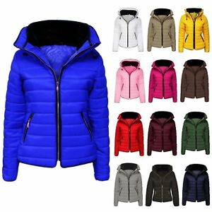 New-Womens-Kids-Quilted-Puffer-Bubble-Padded-Jacket-Fur-Collar-Zip-Up-Warm-Coat