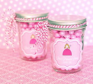 Image Is Loading 96 Personalized Pink Princess Theme Mini Mason Jars