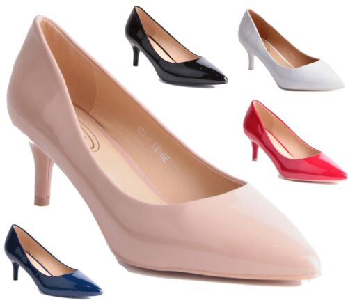 WOMENS MID HEEL STILETTO PATENT COURT PUMPS POINTY TOE OFFICE COURT SHOES SIZE