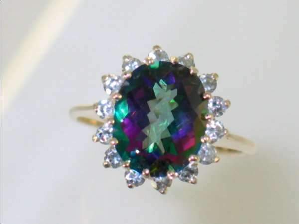 Mystic Fire Topaz  w  2 Accents 10KY or 14KY gold Ladies Ring R283-Handmade