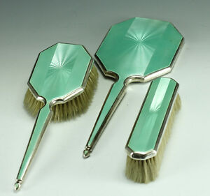 3pc-Adie-Brothers-Sterling-Silver-w-Guilloche-Enamel-Vanity-Set-c1935