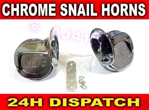 Pair CHROME Snail style Air Horn Twin Tone Honda