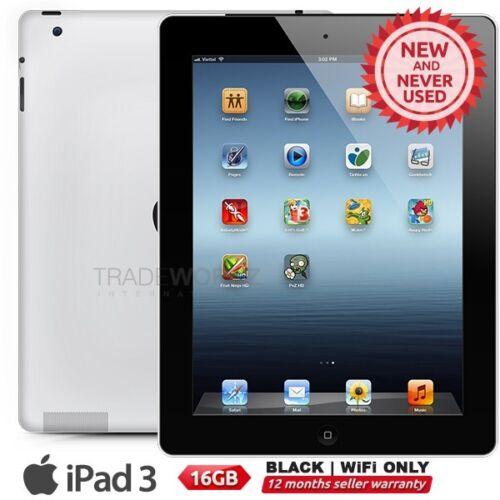 "1 of 1 - New APPLE iPad 3 3rd Gen Black 16GB WiFi Only 9.7"" Retina Screen Tablet"