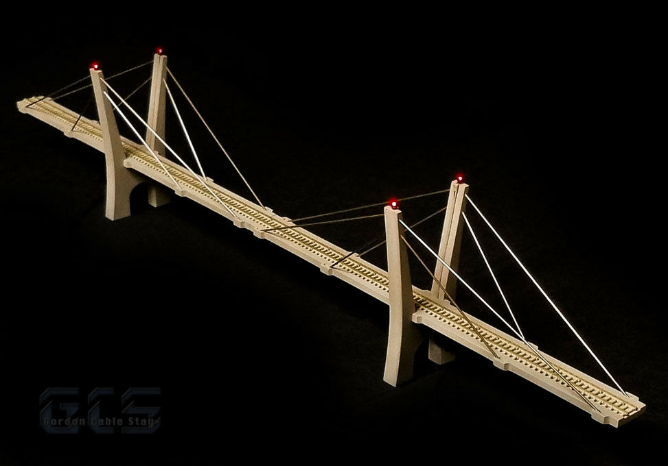 varie dimensioni N Scale 30 30 30  (400') Cable-Stayed Suspension Bridge, Fully Assembled, grigio  vendita calda