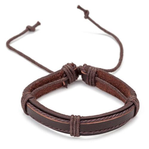 6X Vintage Men Bracelet Multilayer Leather Rope Wax Rope Braided Bracelet  CJ