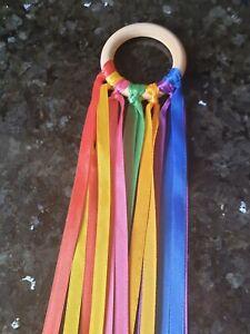 Rainbow-Wooden-Sensory-Ribbon-Ring-Baby-toy-baby-shower-gift-Baby-Girl-Boy