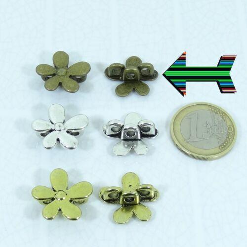 13 Hebillas Para Cordón Flores 20mm 3 Agujeros Plata Tibetano Leather Beads Cuir