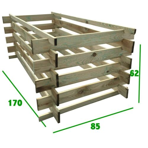 stabiler Holzkomposter Komposter Kompostbehälter imprägniert Hochbeet 175 x 85cm