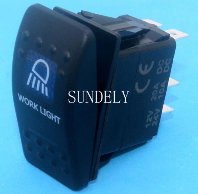 NEW ARB STYLE LED BACKLIT WORK LIGHT ROCKER SWITCH BLUE LED CARLING STYLE SWITCH