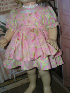 3-Pc-Set-Dress-Rosebud-Print-Apron-19-20-034-Doll-clothes-fits-Mattel-Chatty-Cathy