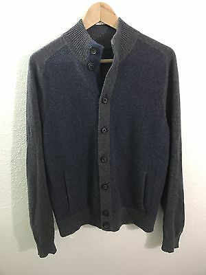 BLOOMINGDALES Cashmere Sweater Jacket Cardigan Button Front MEDIUM Gray