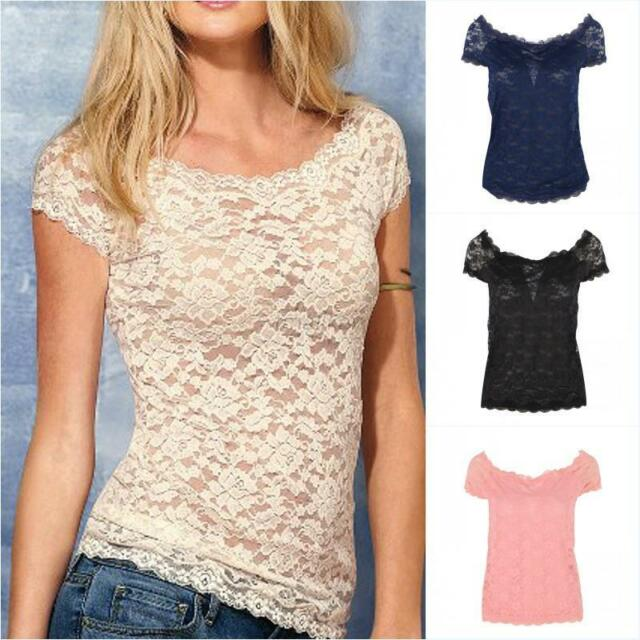 Sexy Women Short Sleeve Sheer Embroidery Floral Lace Crochet T-Shirt Top Blouse