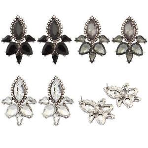 1 Pair Chic Fashion Elegant Women Jewelry Black Crystal Rhinestone Stud Earrings