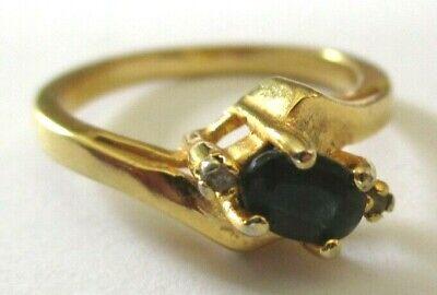 Bague Plaqué Or Panier Zircon Diamant Et Onyx Griffé Taille 54 Bijou Vintage Squisita (In) Esecuzione