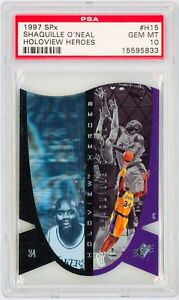SHAQUILLE-O-039-NEAL-1997-SPx-Holoview-Heroes-H15-Basketball-Card-Perfect-PSA-10