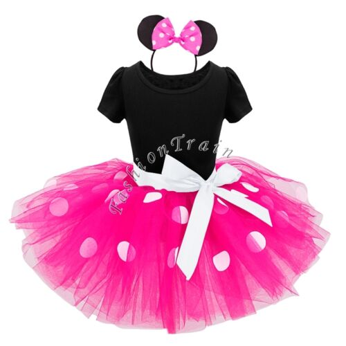 Cartoon Mouse Princess Birthday Party Outfit Girls Dresses Red Dot Kids Clothing
