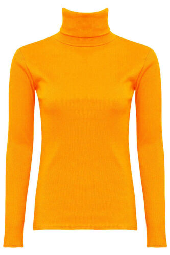 Women's Ladies Ribbed Turtle Polo Neck Long Sleeve Top