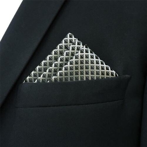 """BH28 Mens Pocket Square Checks Solid Color Silver Black Silk Handkerchief 12.6/"""""""