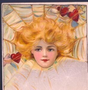 UNCOMMON..ARTIST SIGN,SCHMUCKER,SPIDER WEB GLAMOUR LADY,VALENTINE'S DAY POSTCARD
