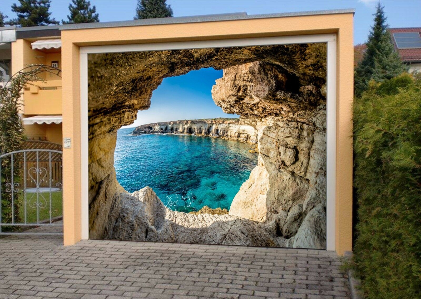 3D Cave Sea Sky 6 Garage Door Murals Wall Print Decal Wall AJ WALLPAPER AU Lemon