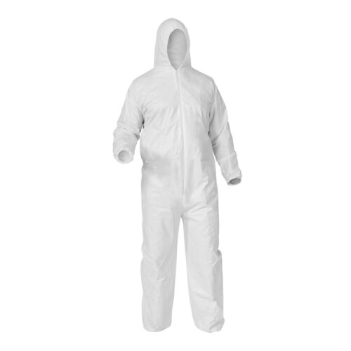 White XLarge Shield Safety Disposable Polypropylene Coverall with Hood 25 Pcs