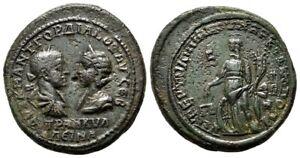 *AET* GORDIAN III &TRANQUILLINA AE30 (Pentassarion). EF-/VF+. Markianopolis mint