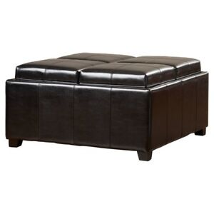 4 Tray Top Black Faux Leather Storage Ottoman Coffee Table Ebay