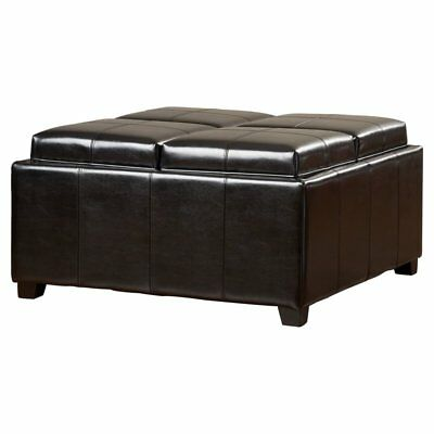 Brilliant 4 Tray Top Black Faux Leather Storage Ottoman Coffee Table Ebay Pabps2019 Chair Design Images Pabps2019Com