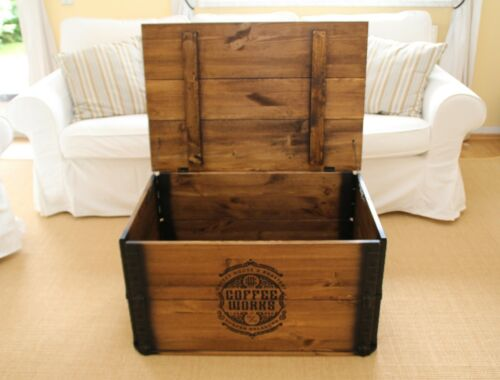 Chest Coffee Table Wood Solid Coffee Table Chest Table Crate Vintage Shabby