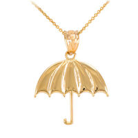 10k Yellow Gold Open Retracted Sunshade Protected Umbrella Pendant Necklace