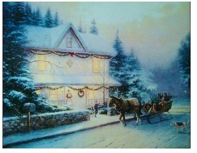 Christmas Canvas LED Large Print with Lights Festive Wall Art
