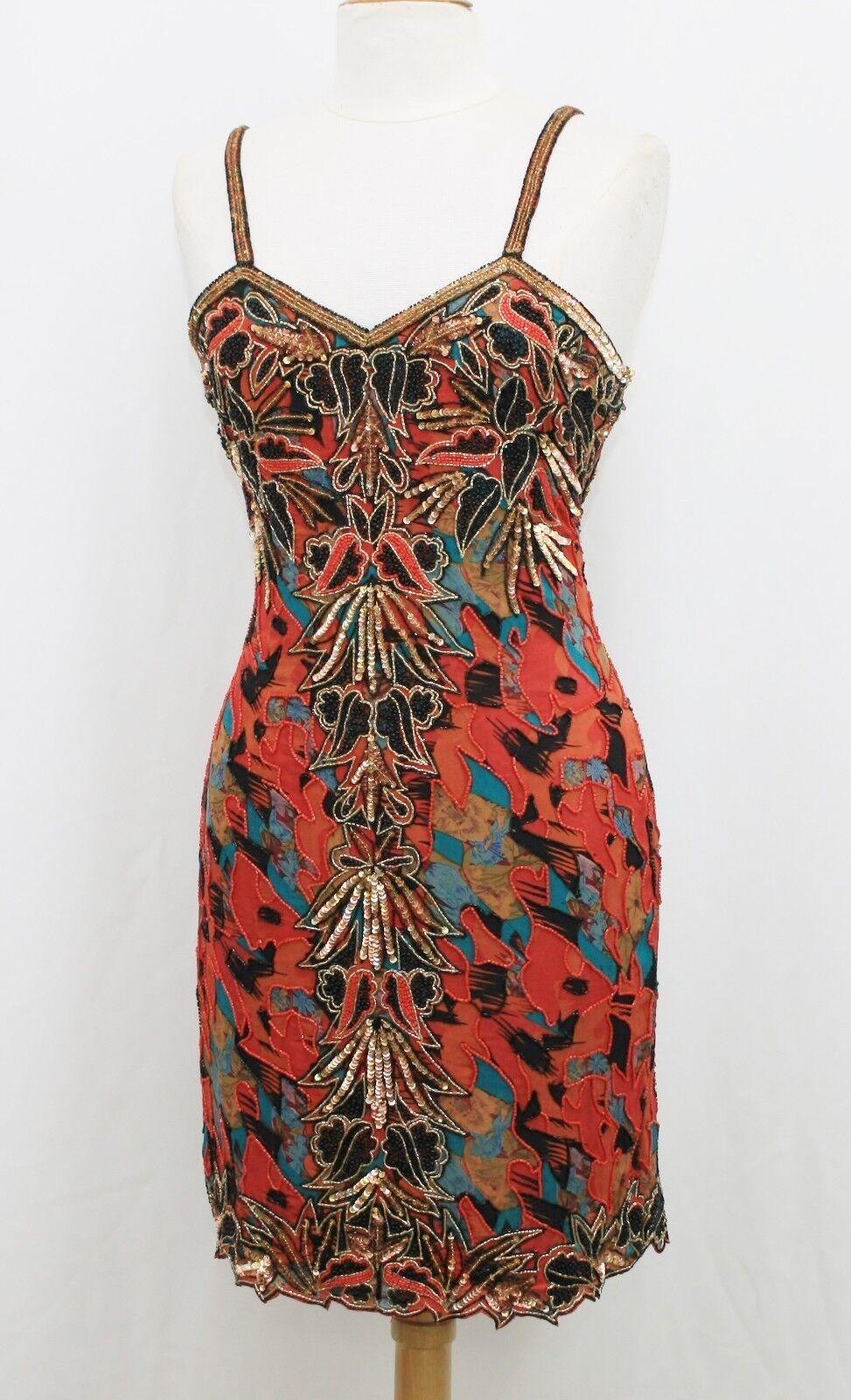 Jasdee Vintage Bead & Sequins Dress Hand Work & Hand Print On Silk Style 5007M