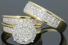 10K YELLOW GOLD 1.25 CT MEN WOMEN DIAMOND TRIO ENGAGEMENT WEDDING RING BAND SET