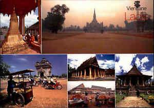 LAOS-Asien-Postkarte-Vientiane-Mehrbildkarte-Multi-View-Postcard-Ansichtskarte
