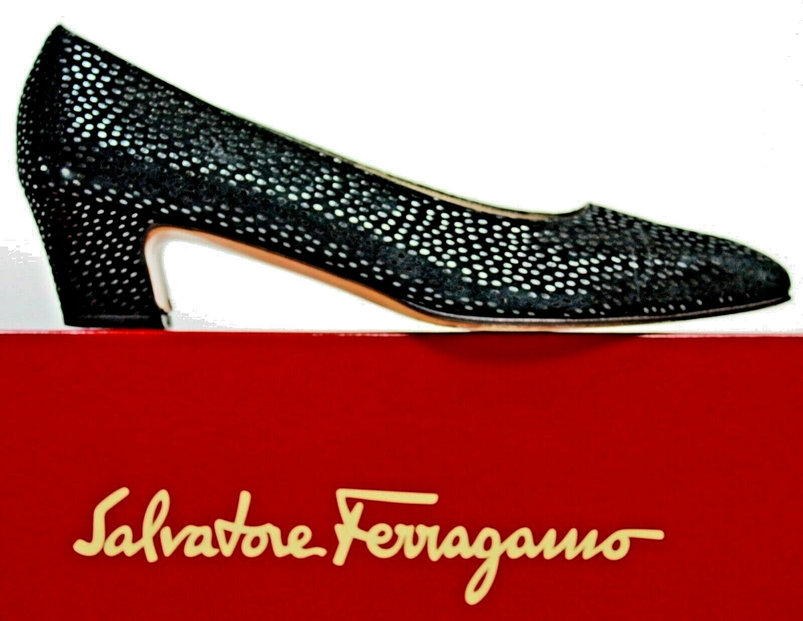 Salvatore Ferragamo Womens Pump sz 9.5 9.5 9.5 3A Black Textured Suede Heels shoes WH55 d7bcf6